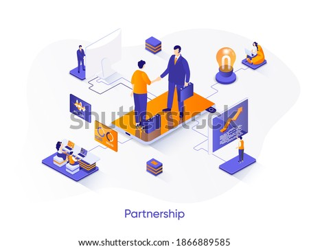 Business partnership isometric web banner. Business collaboration and partners agreement isometry concept. Effective teamwork and communication 3d scene. Vector illustration with people characters.