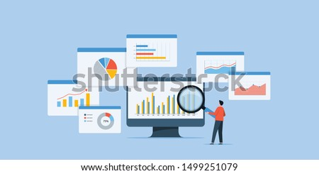business people analytics and monitoring investment and finance report graph on monitor concept