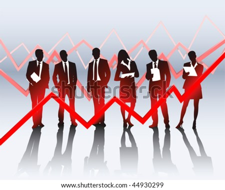 business people and a sales graph - stock vector