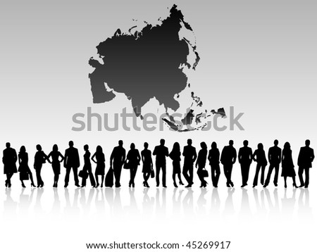 business people and map of asia - stock vector