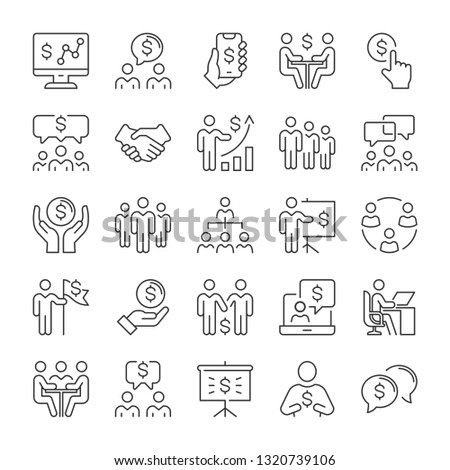 Business people and money icons set. Line style