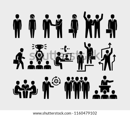 Business people and organization management vector icons set