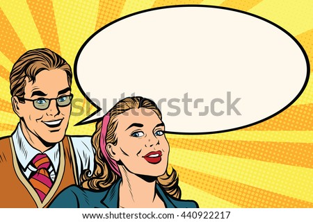 Business people announcement advertising pop art poster, retro vector. A man and a woman announce