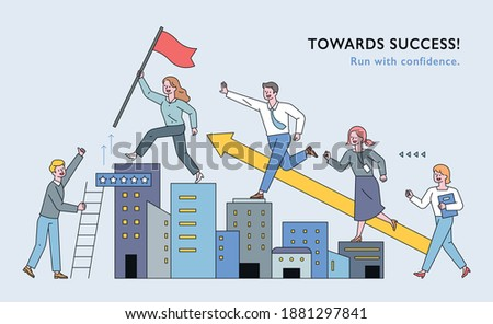 Business people are climbing the building like stairs. People are following the lead with flags. flat design style minimal vector illustration.