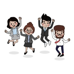 Business people are happy with theirs success.  Cute teamwork character set. Women and men in office outfit. Group of worker jump.