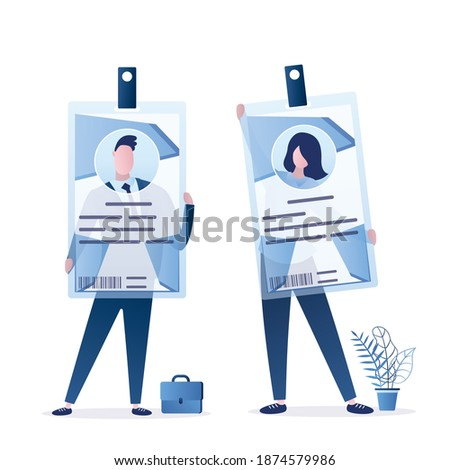 Business people are holding badges. Male and female characters with id cards. Staff identification. Identity protection and confirmation system. Document for access. Flat design vector illustration Foto stock ©
