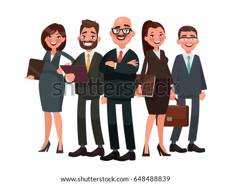 Business people are led by a leader. Vector illustration in cartoon style