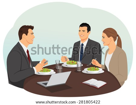 Business people are meeting and eating their lunch. Teamwork during lunch.