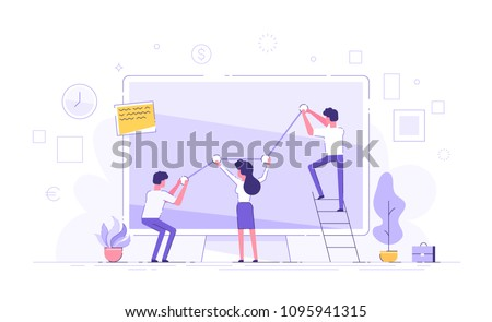 Business people are pushing up their graph upward. Teamwork. Business presentation. Flat vector illustration. #1095941315