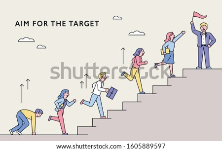 Business people are running up the stairs of goal. flat design style minimal vector illustration. Сток-фото ©