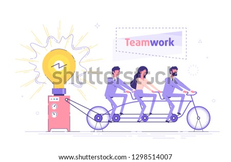 Business people are sitting on the bicycle and generating electric power for a large bulb. Idea generation. Brainstorm and teamwork cooperation concept. Modern vector illustration.