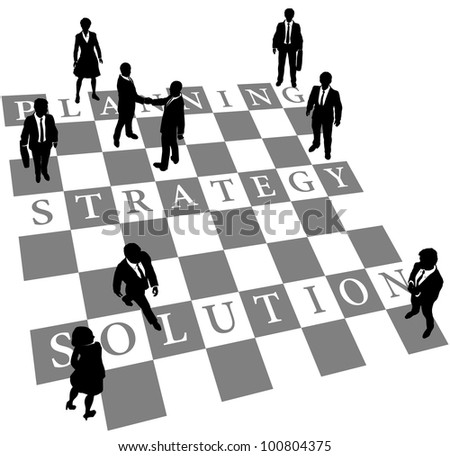 Business people as human chess or checkers pieces on board of Planning Strategy and Solution - stock vector