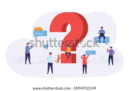 Business people ask questions using laptop, phone, look for answers around large question mark. Concept of frequently asked questions, information retrieval. Сток-фото ©