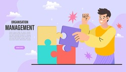 Business people assembling jigsaw puzzle and represent team support. Concept of teamwork, business cooperation, collective project work. Modern flat colorful vector illustration.