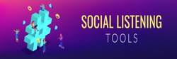 Business people at huge hashtag send and share posts and social media. Social listening tools, engaging content, hashtag tracking concept. Isometric 3D banner header template copy space.