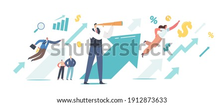 Business People at Huge Rising Arrow Move to Success. Male Character with Spyglass Look on Growing Arrow Chart. Successful Leader Financial Success, Career Growth Concept. Cartoon Vector Illustration