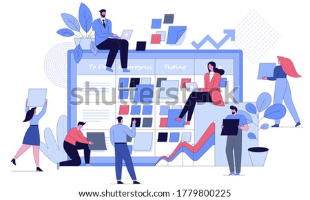 Business people at project task management concept. Men and women in team work, board with daily tasks, status, achievement of goals. Vector character illustration of effective time planning tools