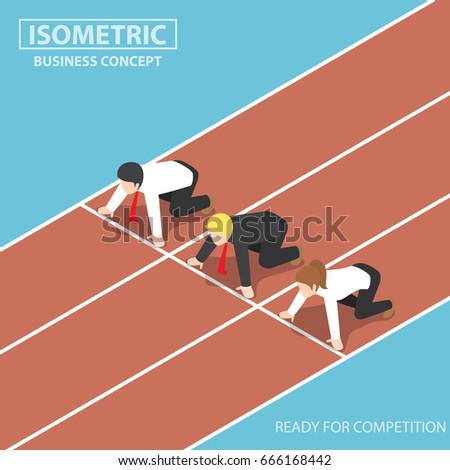 Business People at Starting Line of Racetrack and Ready to Race, Business Competition Concept