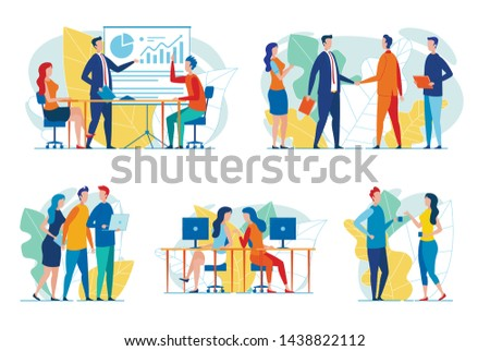 Business People at Work Flat Vector Concepts Set Isolated on White. Handshaking Businessmen, Office Colleagues Communicating at Workplace, Talking on Coffee Break, Team Conducting Meeting Illustration