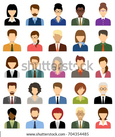 Business people avatars. Women and men office. Vector
