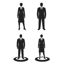 business people black web icon. vector illustration