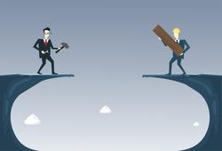 Business People Building Bridge Over Cliff Gap Partner Support Businesspeople Cooperation Concept Flat Vector Illustration