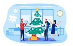 Business people celebrating Christmas and New Year holiday on corporate party in business office. Winter holiday trendy horizontal banner, poster template. Cartoon flat vector illustration