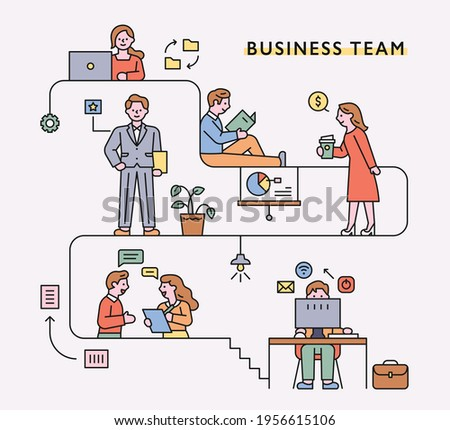 Business people characters and icons working over line process. flat design style minimal vector illustration.