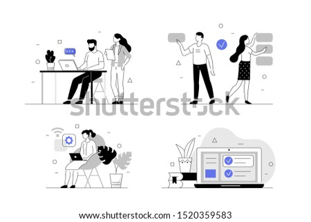 Business People Characters Together Set. Man and Woman Working, Discussing and Meeting in Coworking Office. Coworkers and Freelancers Creative Team. Flat Line Vector Illustration.