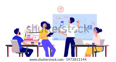 Business people characters working in the office. Minimal co-working space. Group of working office employees. Startup vector illustration. Team project, brainstorm, teamwork process during quarantine