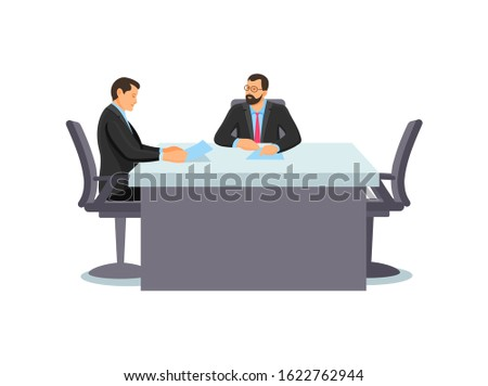 Business people characters workplace. Businessman in having business meeting in office, sitting at table discuss of projects. Business training employees colleagues discussing work project vector