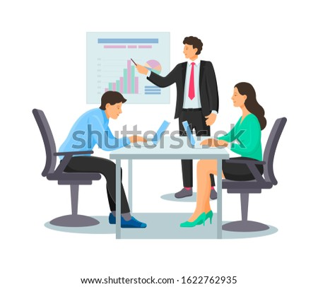 Business people characters workplace. Businessman in having business meeting, teamwork, discussion of the financial situation, promotion, presentation. Employees discussing work project cartoon vector
