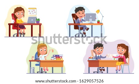 Business people children set. Business man & woman workplace desk. Manager worker, chief executive, director or boss, accountant, auditor analyst, hr and employee. Flat vector character illustration