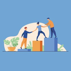 business people climb to the top of the mountain, leader helps the team to climb the cliff and reach the goal, vector illustration