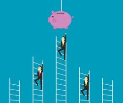 Business people climbing ladder to piggy bank. Vector design