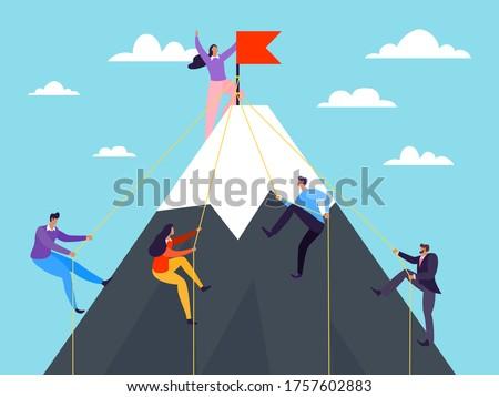Business people climbing on mountain, vector illustration. Success achievement by flat leadership concept, climb career peak. Man woman climber character on rock, teamwork cartoon goal. Foto stock ©