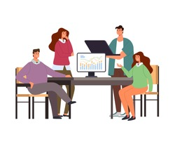 Business people colleagues character talking and discussing business plan project strategy concept. Vector flat graphic design simple illustration
