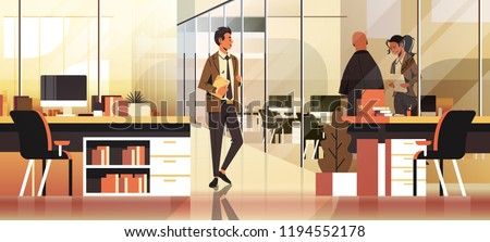 business people communicating concept modern coworking office interior creative workplace male female cartoon character full length horizontal banner flat vector illustration