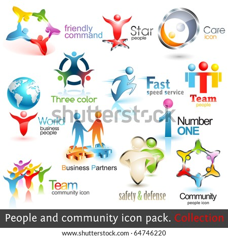 Business people community 3d icons. Vector design elements. Set of business teamwork symbols.