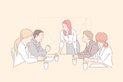 Business people concept. Successful businessmen and business women having a meeting in an office. Simple flat vector.