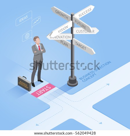 Business people concepts. Businessman standing at a crossroad and looking directional signs arrows. Isometric vector illustration.