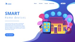 Business people controlling smart house devices with tablet and laptop. Smart home devices, home automation system, domotics market concept. Website vibrant violet landing web page template.