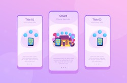 Business people controlling smart house devices with tablet and laptop. Smart home devices, home automation system, domotics market concept. Mobile UI UX GUI template, app interface wireframe