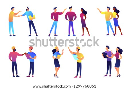 Business people discussing and business meeting vector illustrations set. Teamwork, discussing ideas and strategy, brainstorming concept. Vector illustrations set isolated on white background.