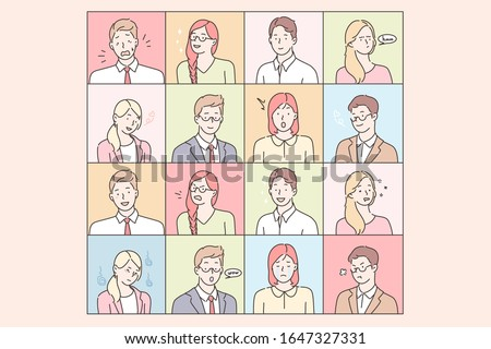 Business people emotions and facial expressions set concept. Collection of illustrations businessmen and women expressing different emotions. Businesspeoples portraits in cartoon style. Simple vector Stock foto ©
