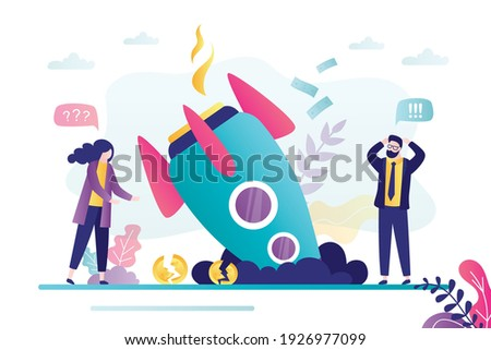 Business people failed with project. Female and male character stands near burning rocket. Spaceship falled down. Concept of startup failure and unsuccessful launch. Trendy flat vector illustration Сток-фото ©