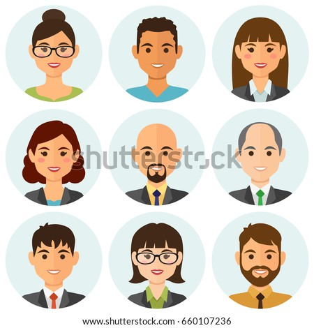 Business people flat avatars set with smiling face. Team icons collection. Vector illustration.