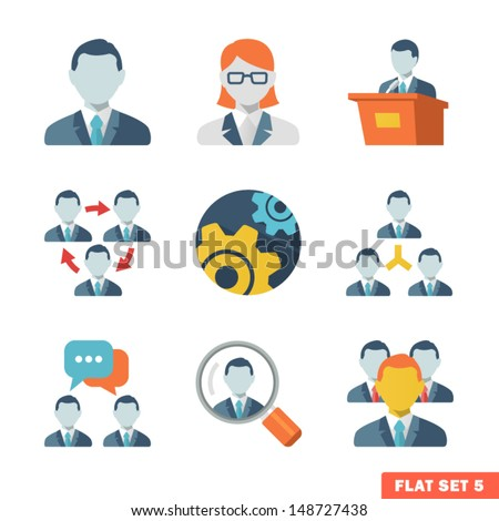 Business people Flat icons for Web and Mobile Application.