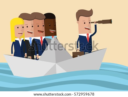 business people floating on the