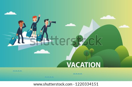 Business people flying on a paper plane towards an island for vacation. Business people vacation concept. Holidays time, recreation and travel vector design
